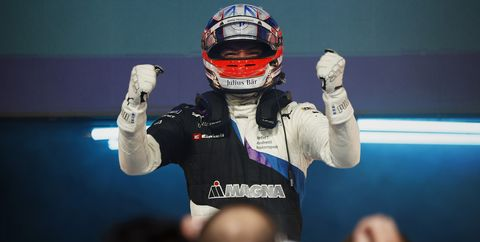 jake dennis gbr, bmw i andretti motorsport, 1st position, celebrates in parc ferme
