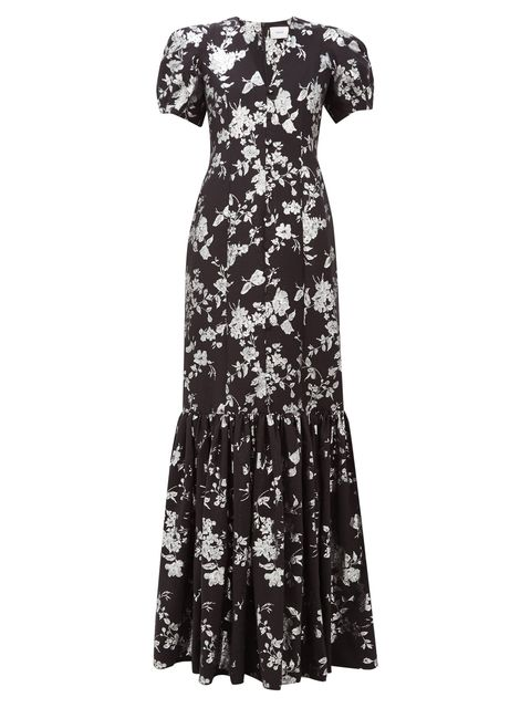 Clothing, Dress, Day dress, Sleeve, Gown, Pattern, Cocktail dress, Neck, Black-and-white, Sheath dress,