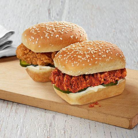Dish, Food, Cuisine, Hamburger, Junk food, Ingredient, Fast food, Original chicken sandwich, Slider, Veggie burger,