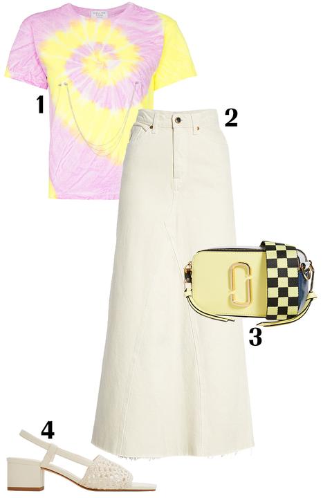 White, Clothing, Yellow, Pink, Dress, Footwear, Magenta, Sleeve,