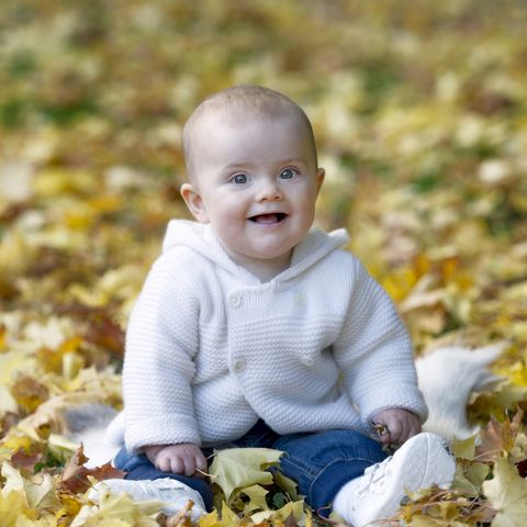 Child, People in nature, Facial expression, Toddler, Yellow, Leaf, Cheek, Autumn, Smile, Baby,