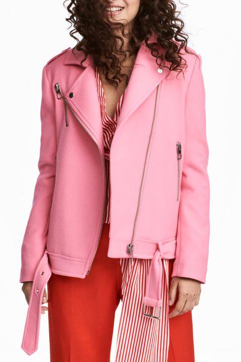 Clothing, Pink, Jacket, Outerwear, Leather, Leather jacket, Fashion, Blazer, Sleeve, Magenta,