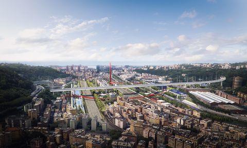 Il Parco del Polcevera e il Cerchio Rosso, di Stefano Boeri Architetti in collaborazione con gli studi Metrogramma Milano e Inside Outside.