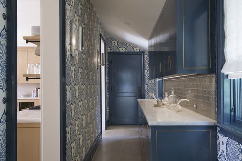 Property, Room, Blue, Interior design, Architecture, Bathroom, Building, Tile, Floor, House,