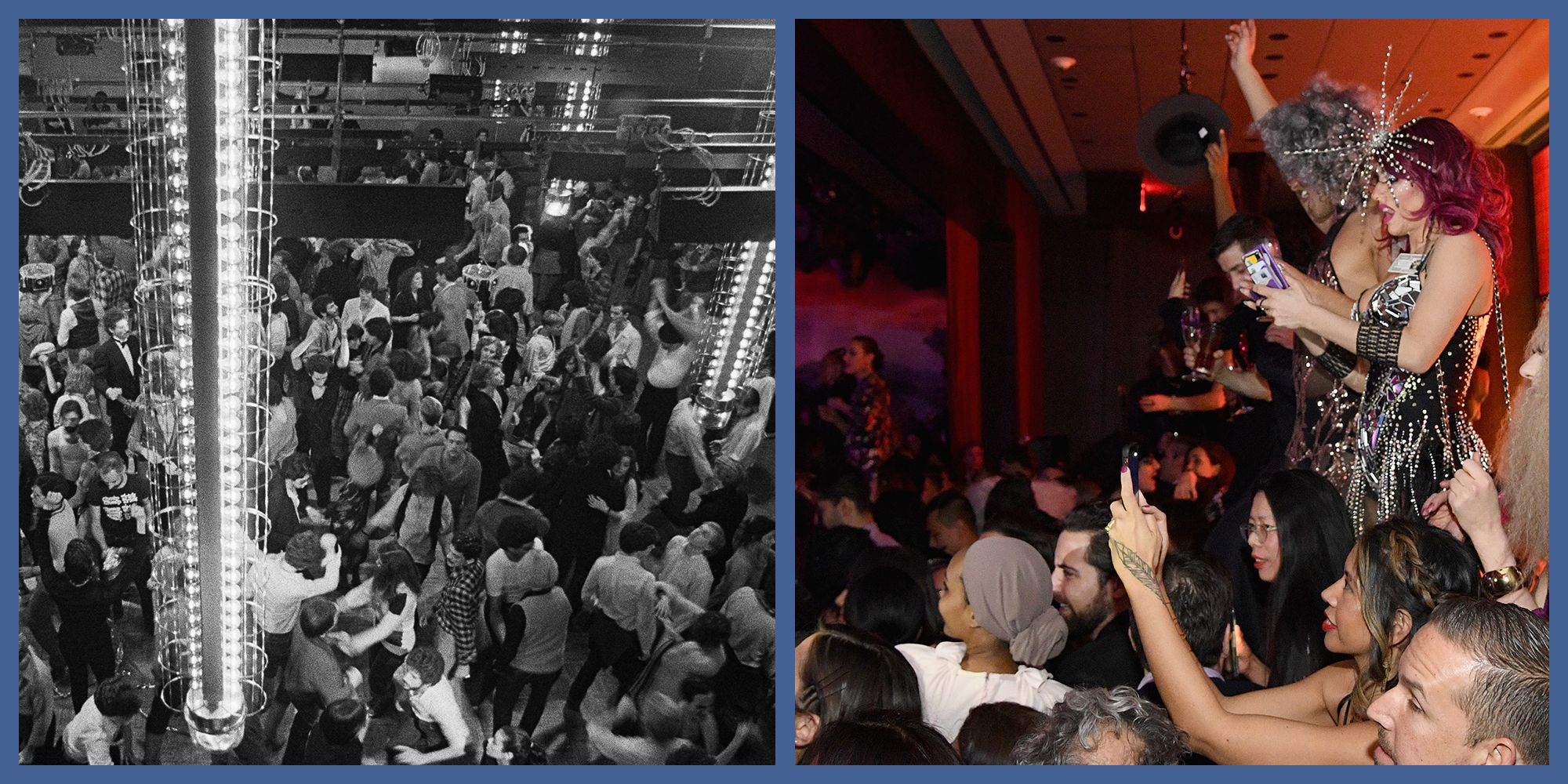 Partygoers at Studio 54 on the left and at the Times Square Edition on the right.