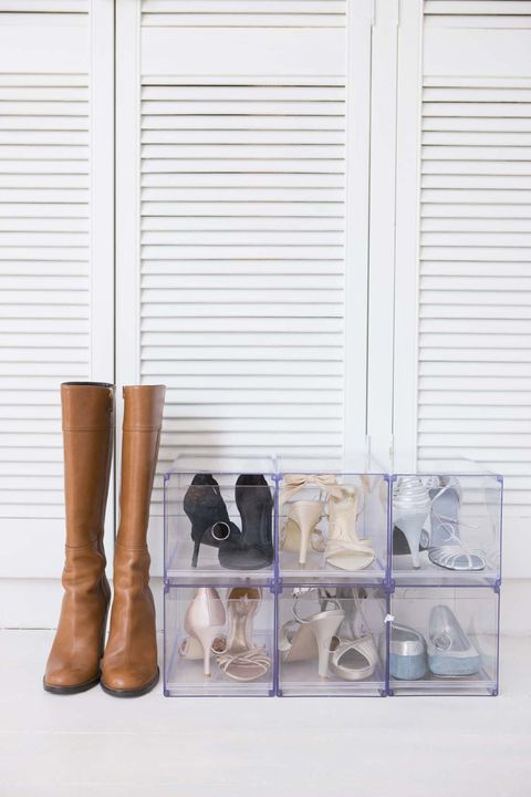 Shoe rack by closet