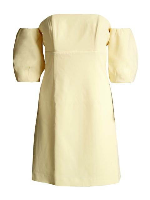 Clothing, White, Dress, Yellow, Day dress, Beige, Sleeve, Cocktail dress, Formal wear, Neck,
