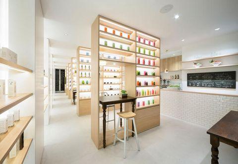 Shelf, Interior design, Shelving, Room, Furniture, Wall, Plywood, Collection, Stool, Desk,