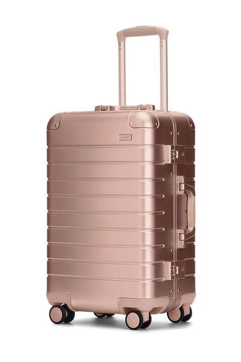 away rose gold metallic luggage suitcase carry on bag
