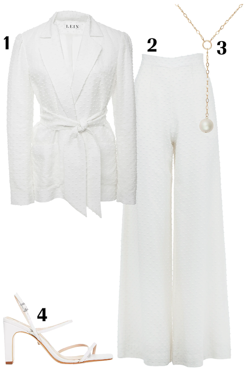 White, Clothing, Outerwear, Dress, Robe, Formal wear, Suit, Beige, Sleeve, Trousers,
