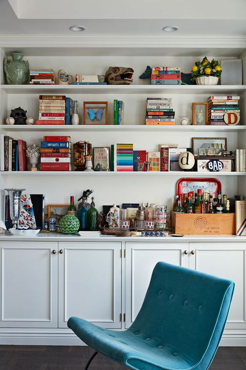 Shelf, Shelving, Furniture, Bookcase, Room, Living room, Wall, Interior design, Turquoise, Home,