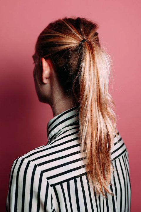 Hair, Hairstyle, Shoulder, Beauty, Pink, Neck, Long hair, Blond, Brown hair, Hair coloring,