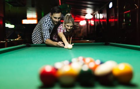 Billiard ball, Indoor games and sports, Recreation room, Lighting, Fun, Room, Recreation, Billiard room, Yellow, Wood,