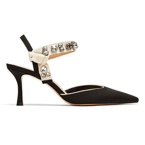 Footwear, Sandal, Slingback, Shoe, High heels, Mary jane, Beige, Strap,