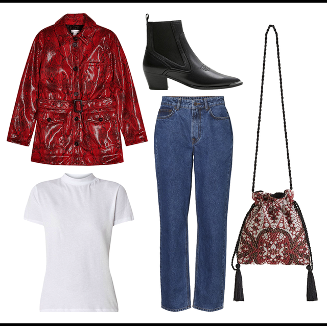 Clothing, Red, Jeans, Denim, Fashion, Footwear, Outerwear, Textile, Coat, Shoe,