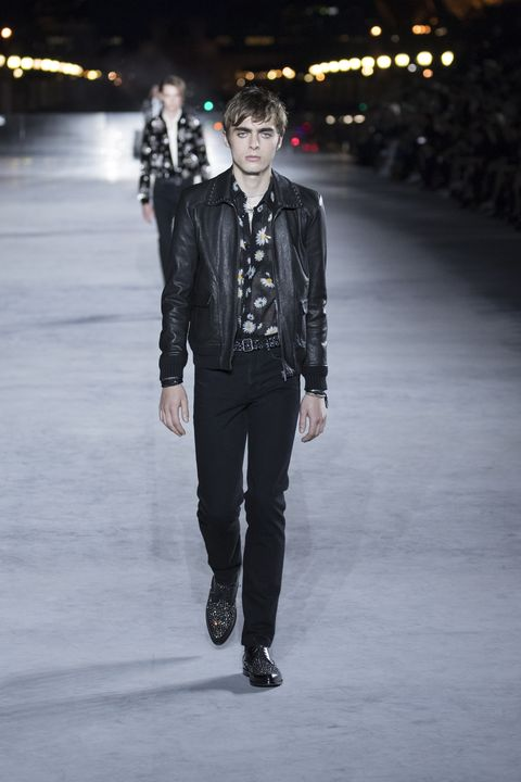 Runway, Fashion, Fashion show, Fashion model, Human, Leather, Fashion design, Jacket, Leather jacket, Event,