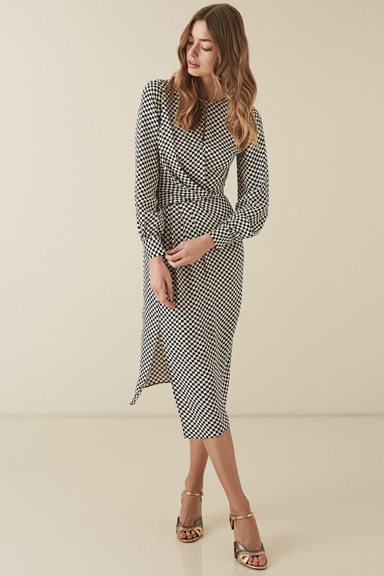 Reiss Dahlia check print dress