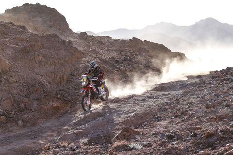 Ricky Brabec with Honda Motorcycle at Dakar