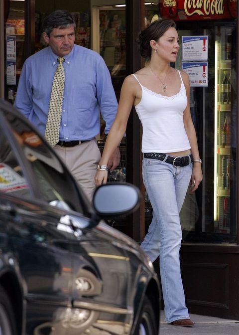 Jeans, Denim, Hairstyle, Fashion, Vehicle, Blond, Leg, Human, Footwear, Street fashion,