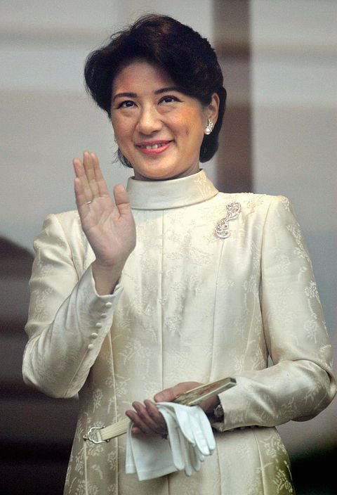Japanese Crown Princess Masako waves to