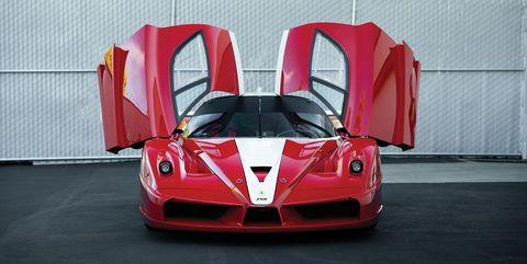 Land vehicle, Vehicle, Car, Supercar, Race car, Sports car, Automotive design, Red, Ferrari fxx, Performance car,