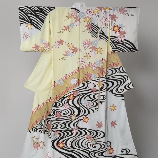美しいキモノ2020年秋号表紙の着物 染の百趣矢野 小袖写し 小袖雛形 雛形 西川夕紅葉