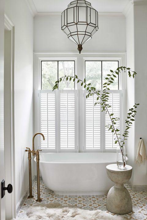 bathroom, white bathtub, copper faucet