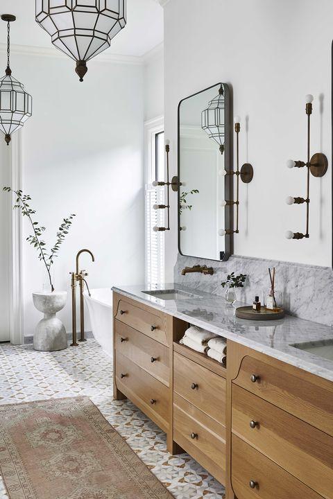 bathroom, marble countertop, wooden drawers, runner,