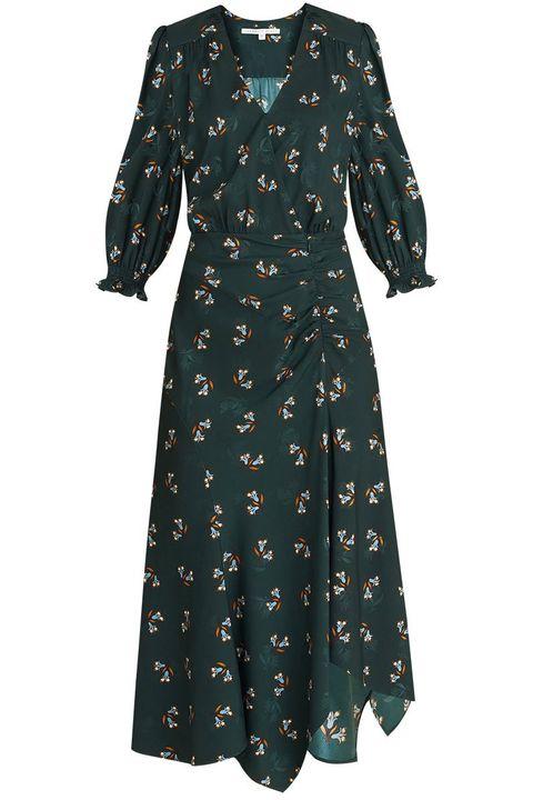 veronica beard green floral midi dress