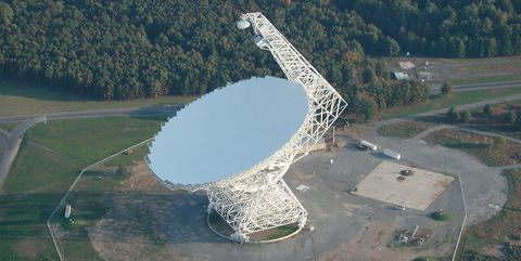 Radio telescope, Aerial photography, Antenna, Technology, Bird's-eye view, Electronic device, Electronics accessory, Urban design, Architecture, Landscape,