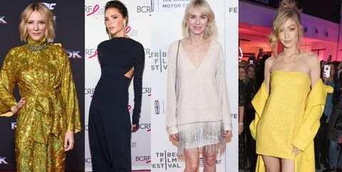 Clothing, Fashion model, Red carpet, Dress, Fashion, Carpet, Yellow, Shoulder, Flooring, Footwear,