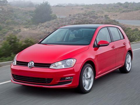 Land vehicle, Vehicle, Car, Motor vehicle, Hatchback, Volkswagen, Red, Alloy wheel, Automotive design, Automotive tire,