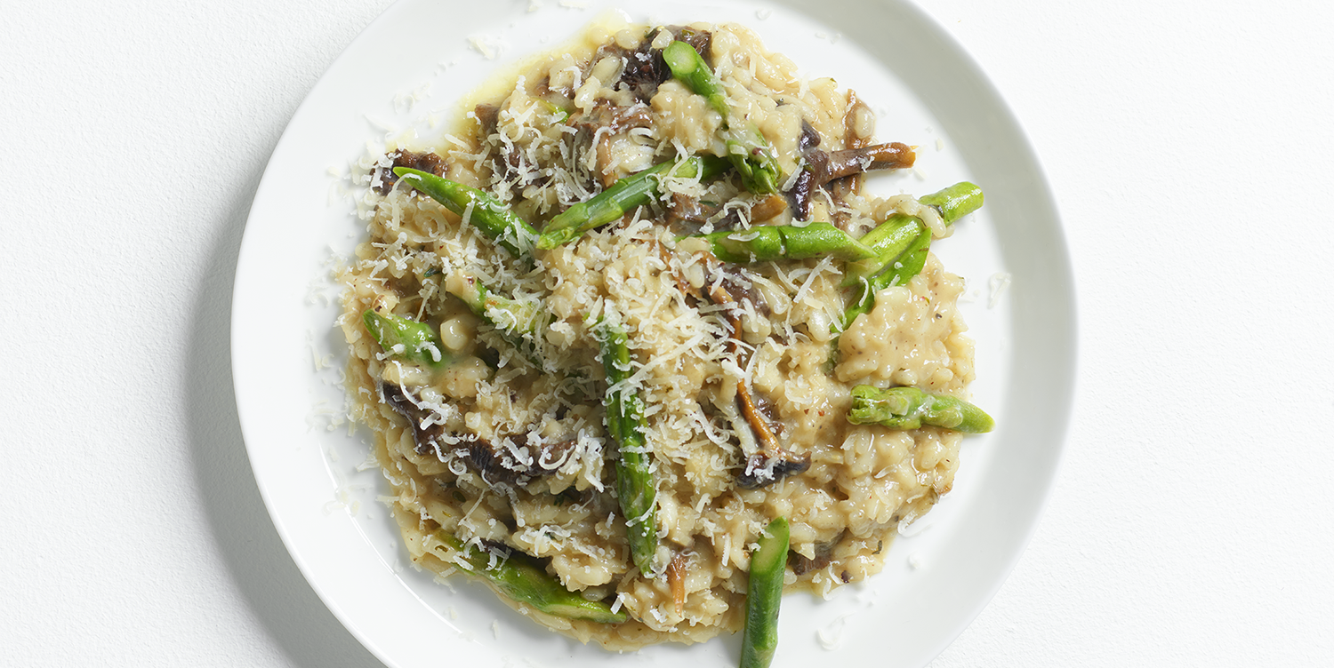 Russell Norman asparagus and girolle mushroom risotto recipe