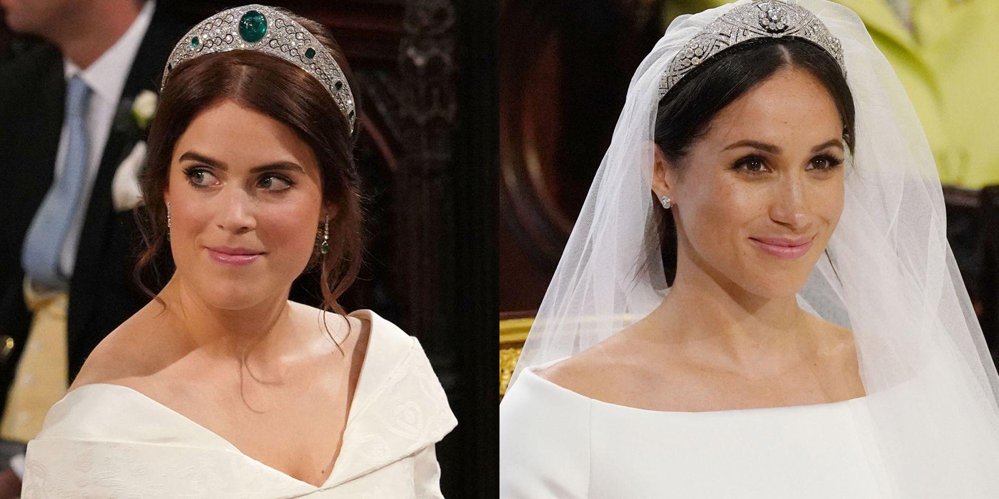 how princess eugenie s royal wedding tiara compared to meghan markle s royal wedding tiara compared to meghan