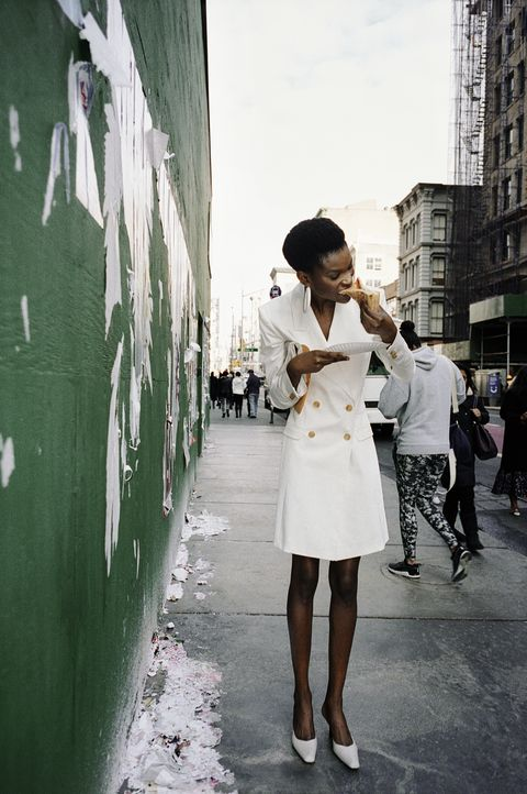 White, Photograph, Street fashion, Snapshot, Standing, Beauty, Fashion, Trench coat, Black-and-white, Street,