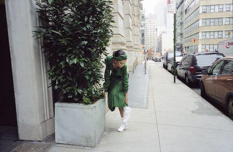 Photograph, White, Street fashion, Green, Fashion, Snapshot, Beauty, Urban area, Standing, Public space,