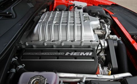 A Supercharger Sits Atop The Dodge Challenger Hellcat S V 8 It Driven Off Of Crankshaft By Wide Black Belt At Front Engine