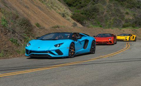 Land vehicle, Vehicle, Car, Supercar, Sports car, Lamborghini aventador, Automotive design, Race track, Blue, Lamborghini,