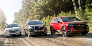 2018 Mazda CX-9, 2019 Subaru Ascent, and 2018 Chevrolet Traverse