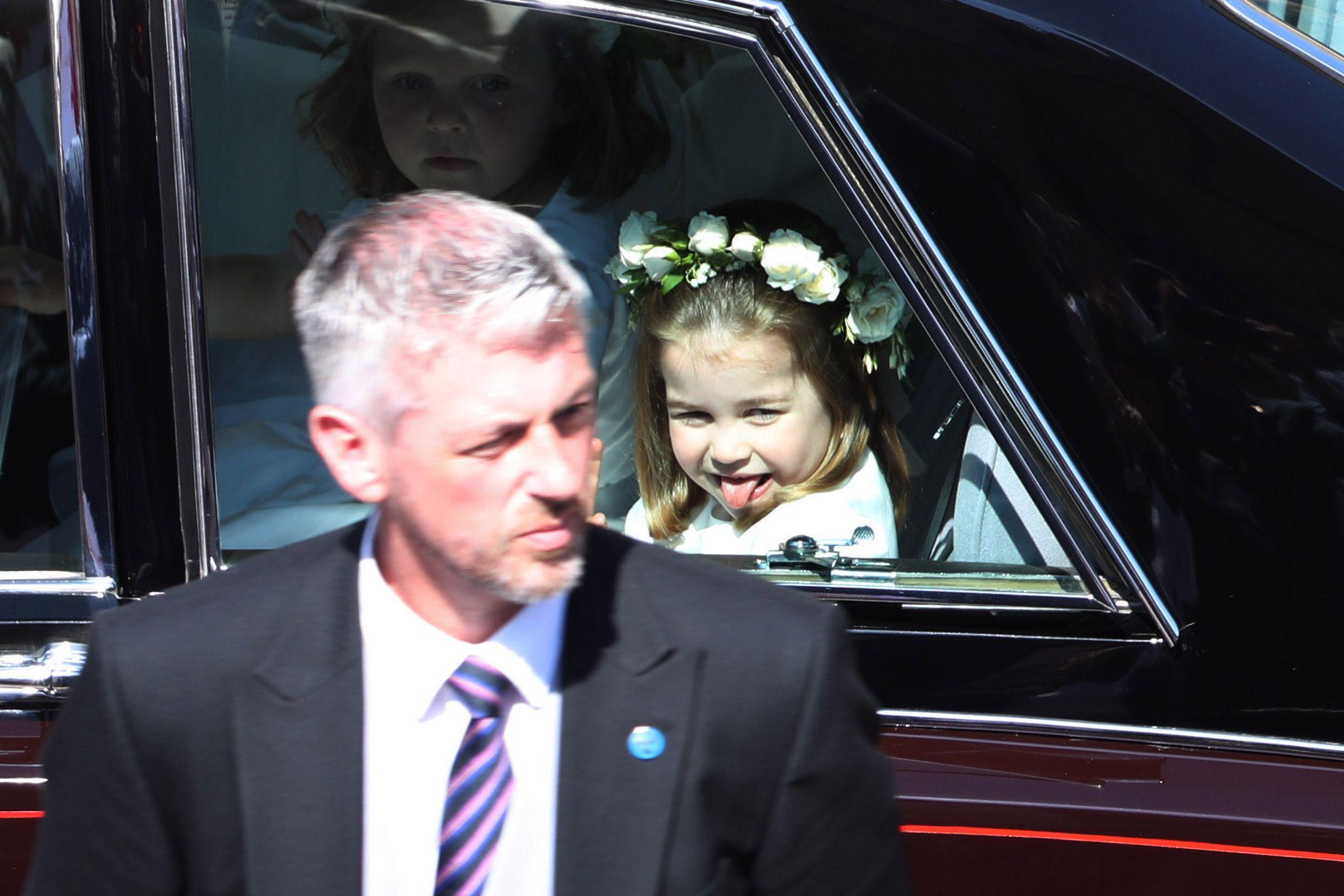 royal wedding 2018 princess charlotte tongue