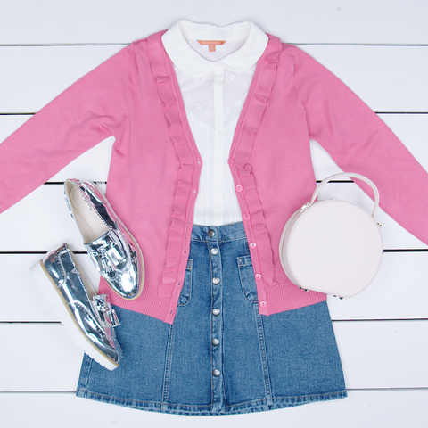 Clothing, Pink, Outerwear, Sleeve, Jacket, Coat, Textile, Denim, Top, Pattern,