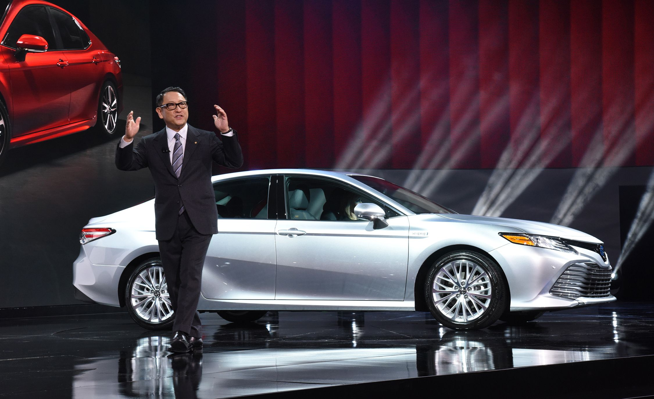 2018 Toyota Camry and Toyota CEO Akio Toyoda
