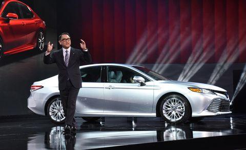 2018 Toyota Camry and Toyota CEO Akio Toyoda