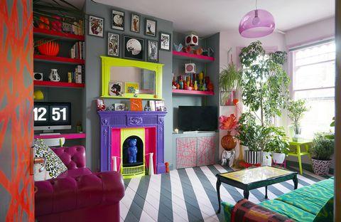 Room, Furniture, Interior design, Living room, Property, Shelf, House, Building, Pink, Shelving,