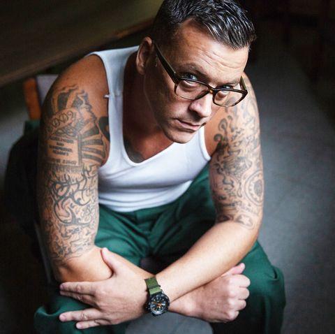 Arm, Glasses, Tattoo, Elbow, Eyewear, Cool, Hand, Human, Photography, Sitting,