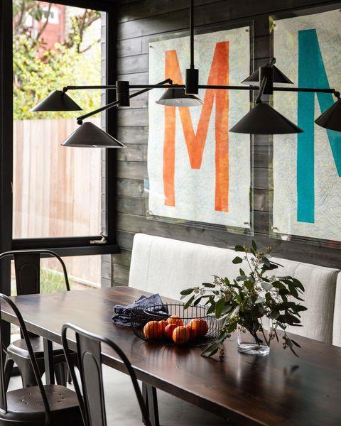 Orange, Room, Furniture, Interior design, Table, Wall, Home, House, Floor, Dining room,