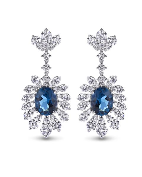 Jewellery, Earrings, Fashion accessory, Body jewelry, Blue, Gemstone, Sapphire, Diamond, Cobalt blue, Silver,