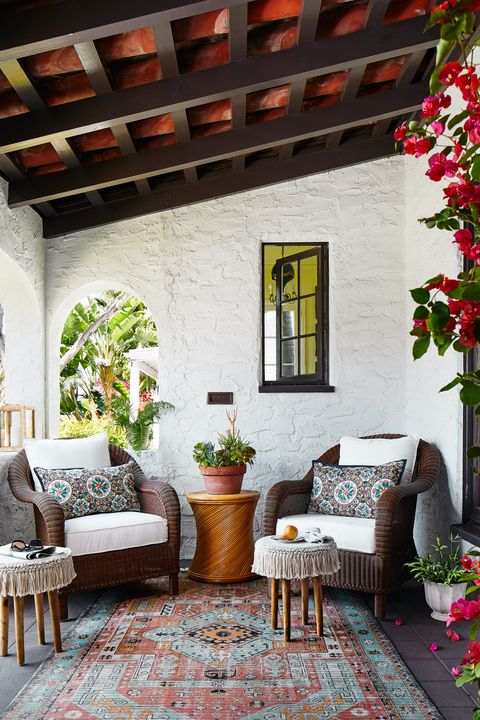 kevin isbell, porch, moroccan rug, chairs