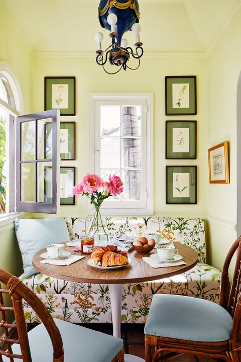 kevin isbell, breakfast nook, table, wooden chairs, green painted walls
