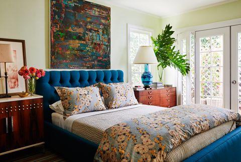 kevin isbell, bedroom, blue headboard, green walls